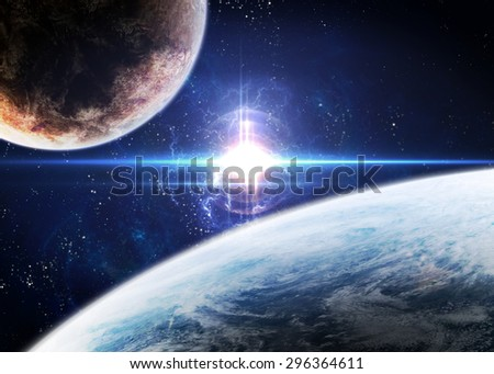Awesome space background with the explosion of star. Elements of this image furnished by NASA. - stock photo