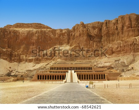 Awesome Temple of Queen Hatshepsut (1508�1458 BC), between the Valley of Kings and the Valley of Queens, in Luxor (Ancient Thebes), Egypt. - stock photo
