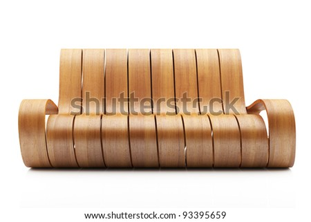 Awesome Wood Couch on white background - stock photo