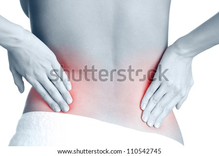 Awful backache, isolated, white background. Black-and-white, monochrome - stock photo