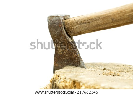 ax and stump on white - stock photo