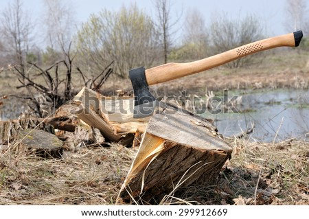 Axe and firewood in nature / chopping wood - stock photo