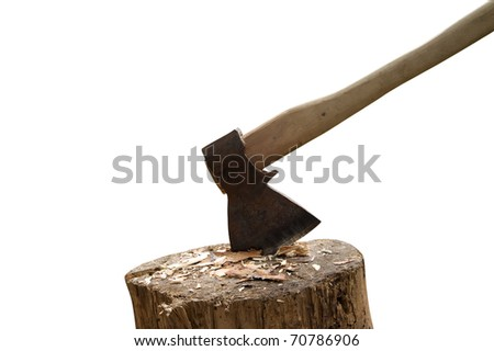 Axe and log isolated on white background - stock photo