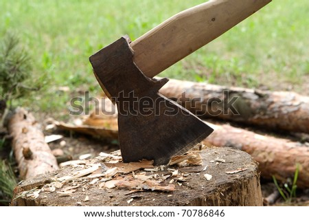 Axe in log
