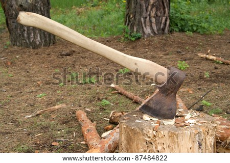 Axe in stump in the clearing in woods