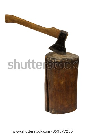 Axe thrust in a log. Isolation on a white background. Clipping path. - stock photo