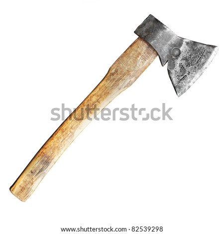 Axe with wooden handle isolated on white - stock photo