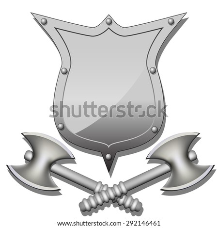 Axes and shields - stock photo