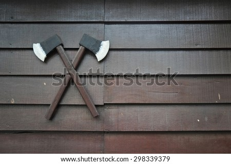 axes on the wall - stock photo
