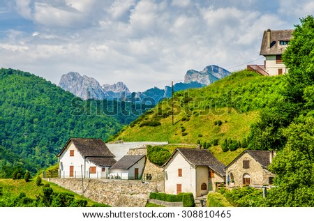 Aydius in the French Pyrenees. - stock photo