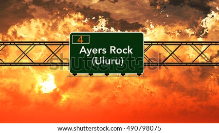 Ayers Rock Australia Highway Sign in a Breathtaking Sunset Sunrise 3D Illustration