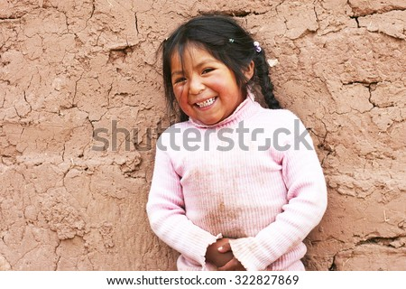 Aymara kid - stock photo