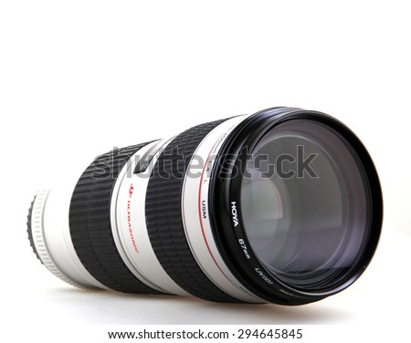 AYTOS, BULGARIA - JULY 08, 2015: Canon EF 70-200mm f/4L USM Lens. Canon Inc. is a Japanese multinational corporation specialized in the manufacture of imaging and optical products. - stock photo