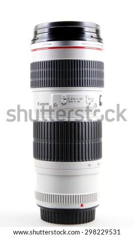 AYTOS, BULGARIA - JULY 20, 2015: Canon EF 70-200mm f/4L USM Lens. Canon Inc. is a Japanese multinational corporation specialized in the manufacture of imaging and optical products. - stock photo