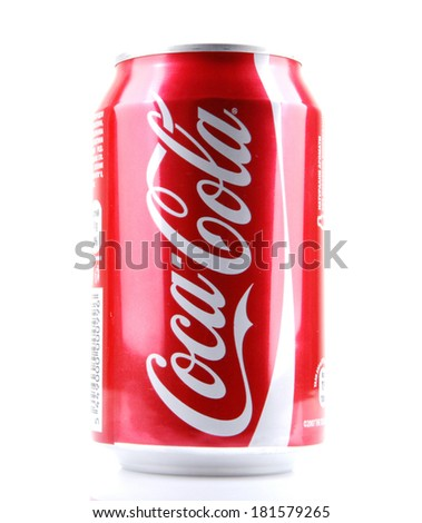 AYTOS, BULGARIA - MARCH 14, 2014: Coca-Cola isolated on white background. Coca-Cola is a carbonated soft drink sold in stores, restaurants, and vending machines throughout the world. - stock photo