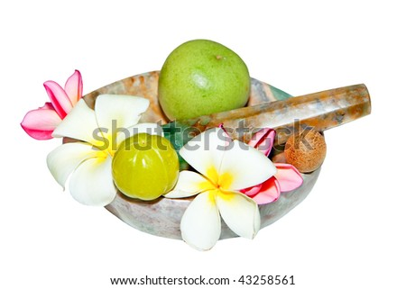 Ayurveda Healing herbs, fruits and  flowers  deco on white background