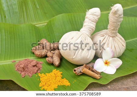 Ayurveda  powder pads with powder, ginger,bark flowers  - stock photo