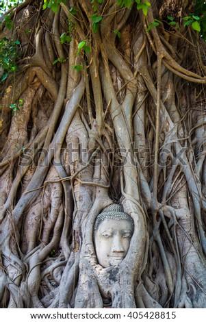 Ayuthaya historical park Buddha statues without head and old Brick in , Ayuthaya , Thailand - stock photo