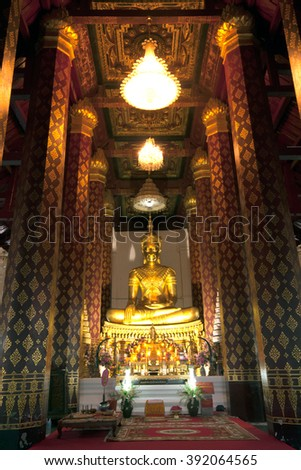 AYUTTHAYA,THAILAND-AUGUST 15,2009 : Phra Phuttha Nimit is Main Buddha Image at Wat Na Phrameru.The Buddha wears the Royal Attire, typical for the late period of Ayutthaya ,Ayutthaya old city,Thailand. - stock photo