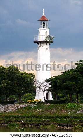 AYUTTHAYA, THAILAND - August, 2016: The lighthouse in Thailand's Phra Nakhon Si Ayutthaya Province