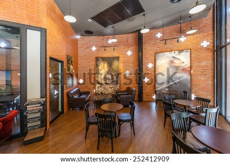 AYUTTHAYA, THAILAND - DEC 26: Interior of Starbucks at Wangnoi on Dec 26, 2014 in Ayutthaya. It is an US global coffee company, the largest coffeehouse company in the world.