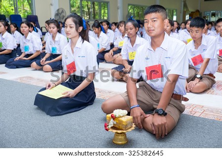 "AYUTTHAYA THAILAND - JULY 3 : Student Bangpra-in ""rachanukoah1"" school training ""Camp Buddhist"" at Youth development center ""Camp Buddhist"" on July 3,2015 in Ayutthaya Thailand"