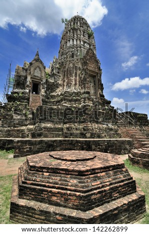 AYUTTHAYA,THAILAND - MAY 20: many temple pagoda and Buddha in Ayutthaya on May 20,2013 in Thailand.Ayutthaya ruins is the top ten sites protected areas, empty and desolate