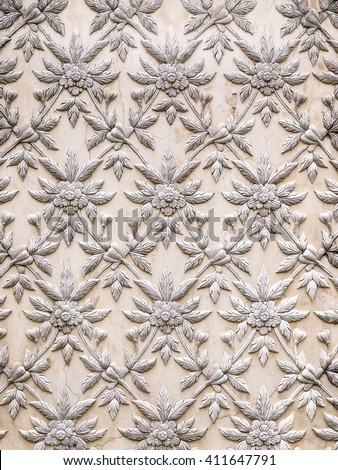 Ayutthaya, Thailand - Oct  23, 2014 : The White stucco design of native thai style on the Wall - stock photo