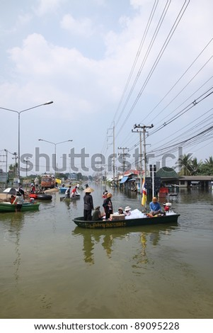 AYUTTHAYA, THAILAND - OCTOBER 24: Heavy flooding from monsoon rain in Ayutthaya and north Thailand arriving in Ayutthaya suburbs on October 24, 2011 in Ayutthaya, Thailand.