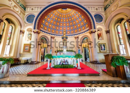 AYUTTHAYA, THAILAND - SEPTEMBER 25: interior of church of St Joseph with altar, on September 25, 2015 in Ayutthaya, Thailand
