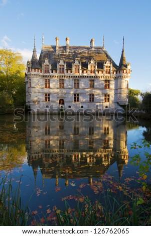 Azay-le-Rideau chateau  in autumn, the Loire Valley, France - stock photo