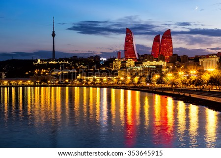 Azerbaijan, Baku - September 16, 2015: Night view of the Flame Towers. Flame Towers are new skyscrapers in Baku - stock photo