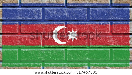 Azerbaijan flag painted on old brick wall texture background - stock photo