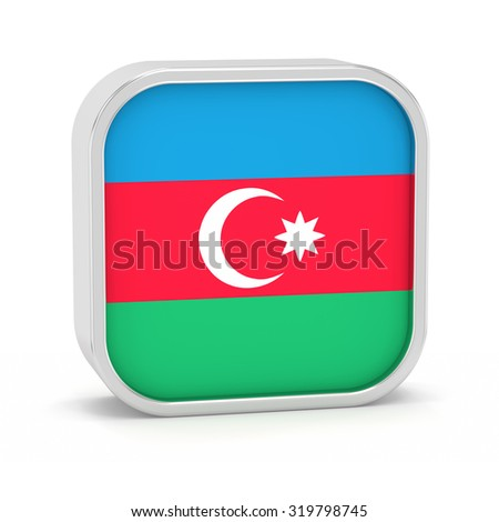 Azerbaijan flag sign on a white background. Part of a series. - stock photo