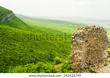 Azerbaijan Galaalty view from a height of 1700m on the mountains - stock photo
