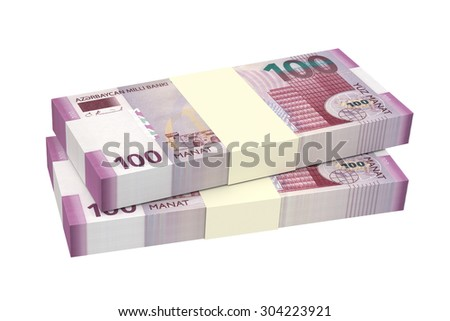 Azerbaijan manat isolated on white background. Computer generated 3D photo rendering. - stock photo