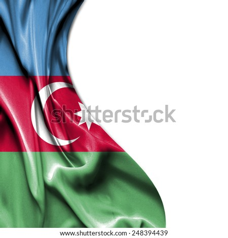 Azerbaijan waving silky flag isolated on white background - stock photo