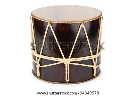 Azeri traditional drum nagara on white - stock photo