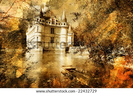 azey-le-redeau  castle  - artwork in painting style - stock photo
