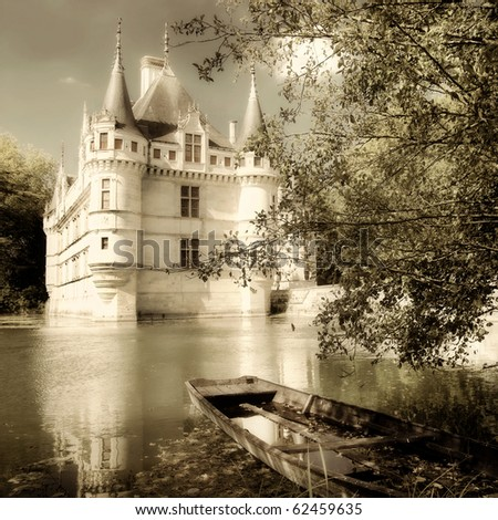azey-le-redeau castle - sepia toned picture from my castle collection - stock photo