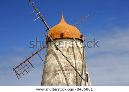 azores ancient windmill at sao miguel island - stock photo