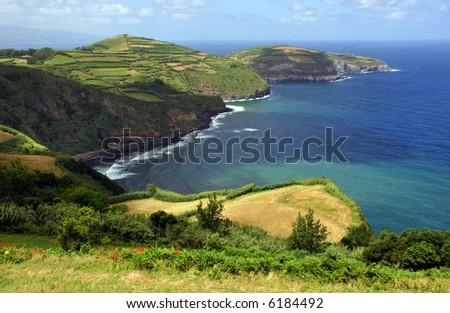 azores coastal fields at sao miguel island - stock photo