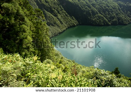 azores lake of sao goncalo in s miguel island