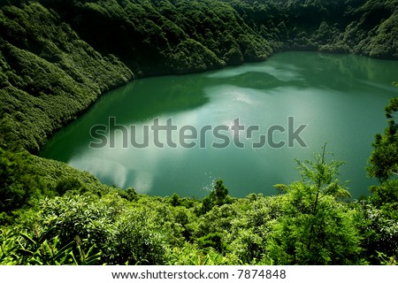 azores lake of sao goncalo in s miguel island - stock photo