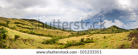 Azores panoramic landscape with storm clouds - stock photo