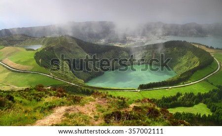 Azores, volcanic lake  in Sao Miguel island - stock photo
