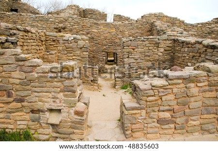 Aztec Ruins National Monument native american indian ruins - stock photo