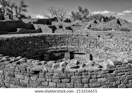Aztec Ruins National Monument on Ruins Road in Aztec, New Mexico - stock photo