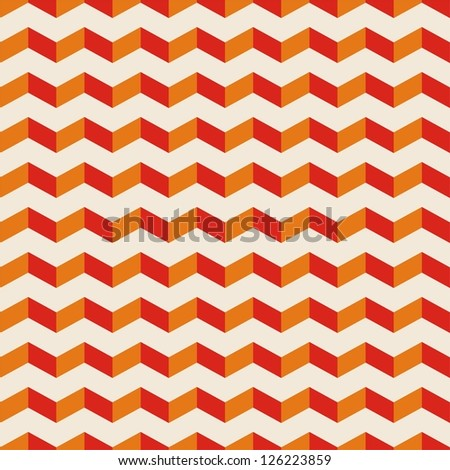Aztec summer seamless hot pattern, red and orange tile background with zig zag print - stock photo