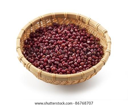 azuki beans on white background - stock photo